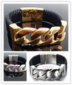 Fashion Amazing Mens Silver&Gold 316L Stainless Steel Punk Curb Cuban Chain Bracelet Bangles 100% Black Genuine Leather Jewerly
