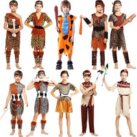 Children Indian Savage Leopard Costume Wild Boys Girls Cosplay Costumes Halloween Stage Performance Party Dress Decoration