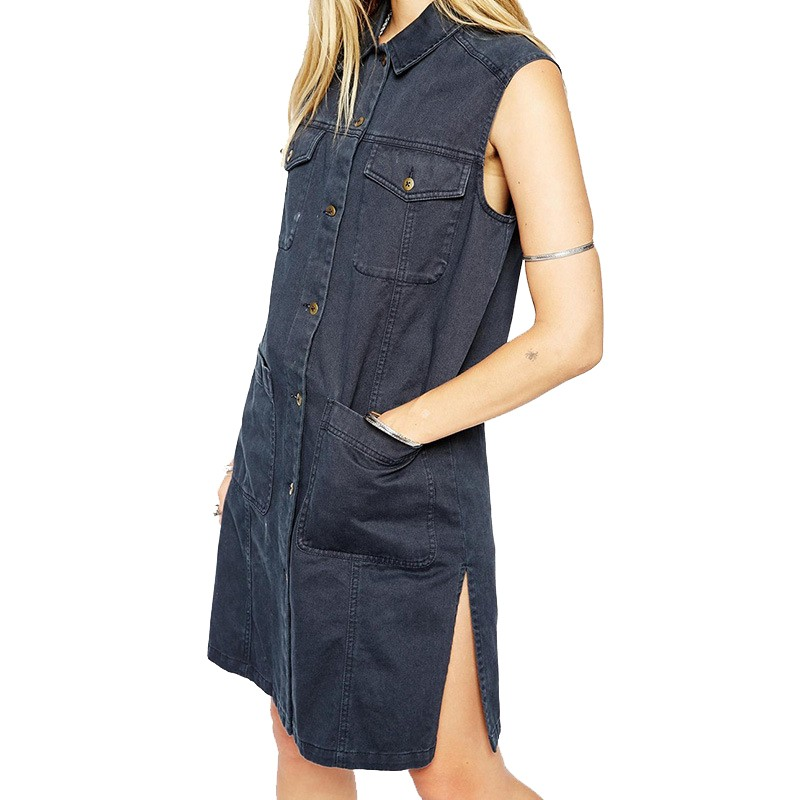 2015 New Fashion Women Denim Vest Punk Style Classic Four Pocket Vintage Woman Wild Sleeveless Long Vest Women Vest OutwearJT241 (2)