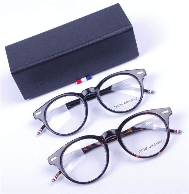 b4ea2d6b568f Optical Round acetate prescription spectacle Thom Browne tb404 TB-404C Men  Women Myopia Eye glasses Frame Eyeglasses Frame