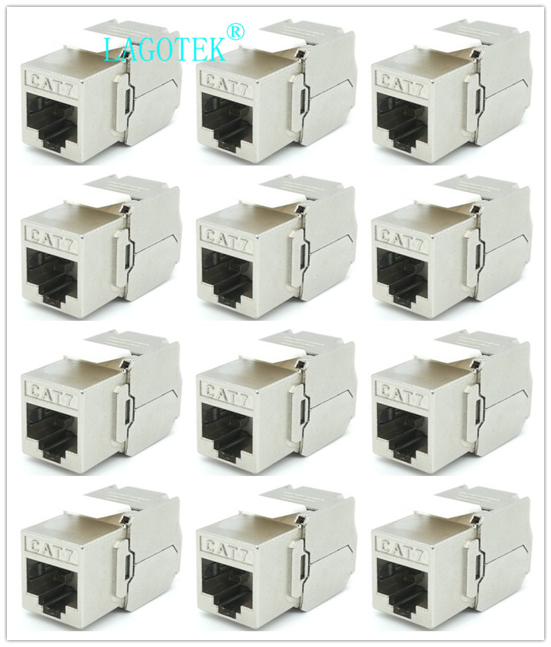 12/24pcs RJ45 Keystone Cat7 Cat6A Shielded FTP Zinc Alloy Module Network Keystone Jack Connector Adapter 10GB Network