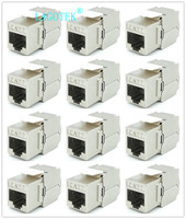 12/24pcs RJ45 Keystone Cat7 Cat6A Shielded FTP Zinc Alloy Module Network Keystone Jack Connector Adapter 10GB Network