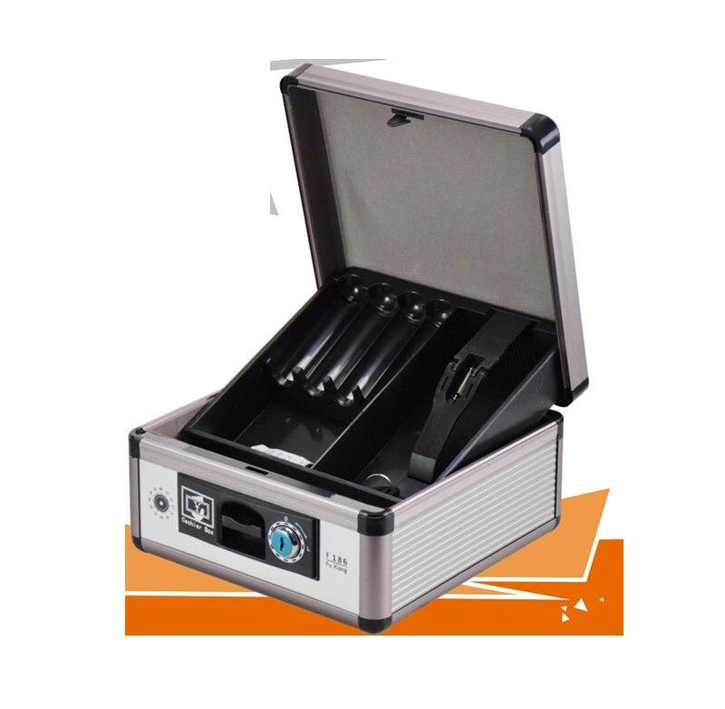 Boîte à billets avec plateau à billets coffre-fort en métal boîte de verrouillage avec clé organisateur d'économie d'argent-boîte de sécurité avec plateau à pièces F186