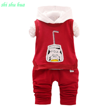 Boy clothing set Long-sleeved T-shirt + hooded vest + pants Bottle printing baby autumn and winter sports suit 1-3 years old boy baby girl boy clothing sets 2018 cartoon pattern autumn winter warm toddler vest shirt pants 1 2 3 4 years kid clothing suit