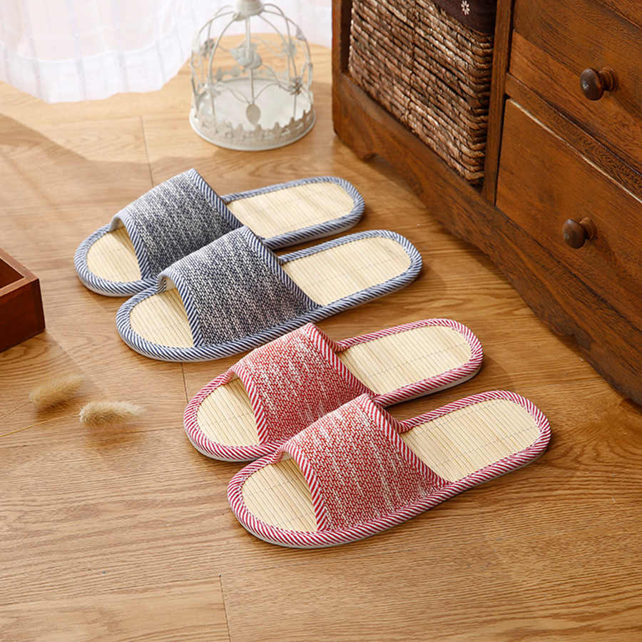 476bd4def657 ... LCIZRONG Autumn Men Home Hemp Slippers Bamboo Insole Slides For Man  Fashion Indoor Large Size Couple ...