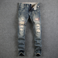 İtalyan Tarzı Retro Tasarım Erkekler Jeans Yüksek Kalite Denim Skinny Jeans Erkekler Vintage Ripped Tahrip Kot Rahat Eğlence Pantolon