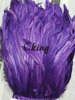 Free shipping Coque feather fringe of Purple color 5 yard cock chicken tail feather trim in 35 40cm width 19 colors !