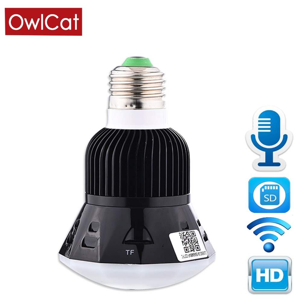 OwlCat 1080P HD New Mini Lamp WIFI Camera  Bulb Light Wireless IP Camera Support 128GB SD Card 360 Panoramic FishEye 3D VR LensOwlCat 1080P HD New Mini Lamp WIFI Camera  Bulb Light Wireless IP Camera Support 128GB SD Card 360 Panoramic FishEye 3D VR Lens
