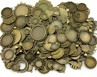 100 gramm Mix Designs Antiken Bronze & Antique Silber Zink-legierung Anhänger Blank Cameo Cabochon Einstellung Schmuck Zubehör