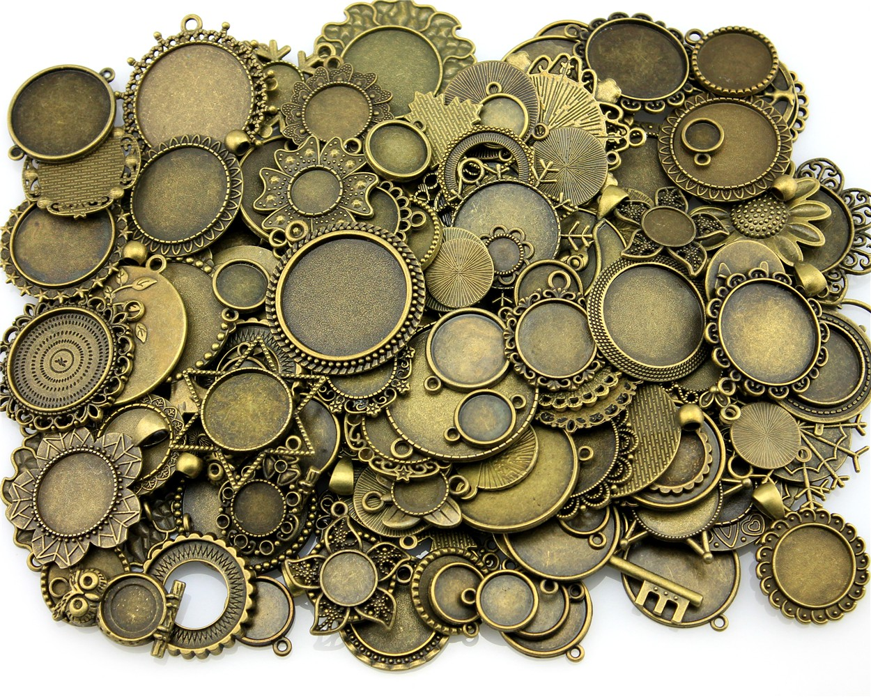 100Gram Mix Designs Antique Bronze & Antique Zinc Alloy Pendant Blank Cameo Cabochon Base Setting Jewelry Accessories