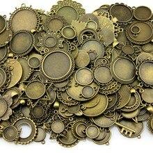 100 gramos diseños mixtos bronce antiguo y plata antigua aleación de Zinc colgante en blanco camafeo cabujón Base ajuste accesorios de la joyería