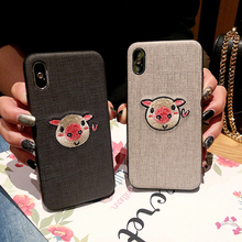 Chinese Embroidery Case for iPhone 8/7/7plus Cartoon Cute Pig For iPhone 6 6plus 6s 6splus TPU+PC New Back Cover