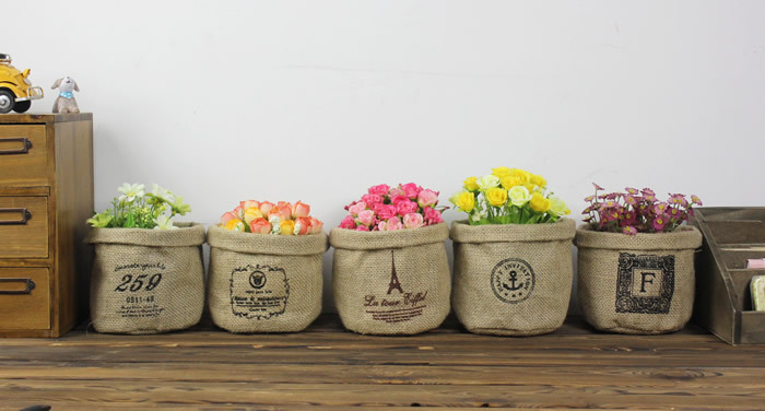 free shipping 2pcs zakka natural burlap basket for wedding decoration product supplies vintage storage baskets for - Home Decor Products