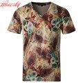 Men Printed Mercerized Cotton T-shirt Brand Korean Summer Short Sleeve Casual Plus Size 5XL High Quality Slim Fit T shirt F2080