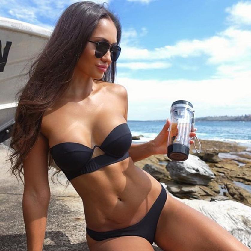 Women Sexy Bikini Set Push Up Bra Padded Swimwear Black Swimsuit