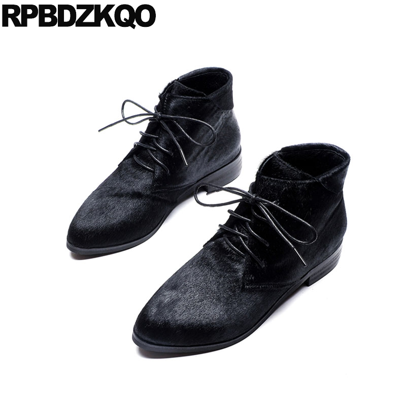 Ankle Pointy Black Fall British Pointed Toe Lace Up Booties Furry Shoes Flat Women Boots Winter 2017 Suede Autumn Chinese Ladies maxmuxun women autumn winter rubber ankle boots lace up round toe flat heels classic black grey faux suede shoes female footwear