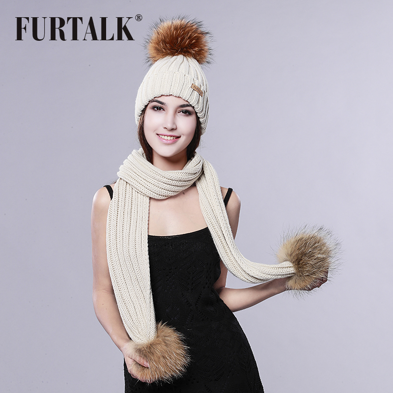 FURTALK Pom Pom Hat and Scarf Women Winter Long Knit Fur Scarf Hat Scarf Set 3ba1f4d37