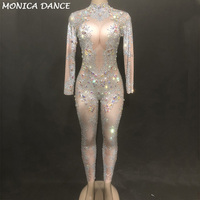 Для женщин пикантные этап Dj комбинезон Синий бриллиантами чистой пряжи полный сверкающие кристаллы Боди для ночного клуба вечерние танцор