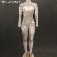 Women Sexy Stage Dj Jumpsuit Blue Diamonds Net Yarn Full Of Sparkling Crystals Bodysuit Nightclub Party Dancer Singer Stage Wear
