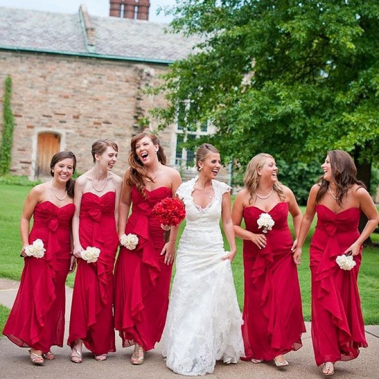 Long Red   Bridesmaid     Dress   Sweetheart Neckline Off The Shoulder A Line Chiffon Full Length Vestido De Festa Maid Parties
