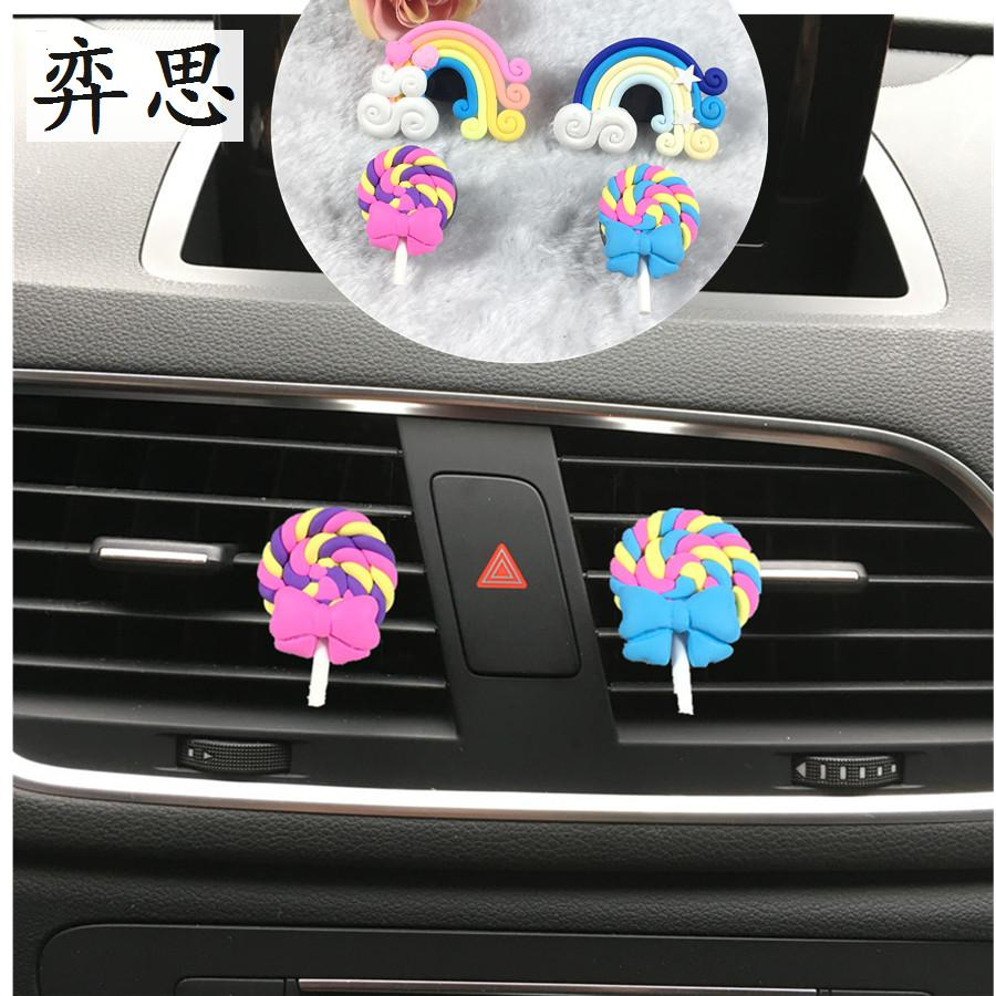 Rainbow and lollipop styling Ladies car perfume clip Exquisite Air Conditioning decoration perfume car styling Air