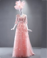 Real Photo Pink 2016 New Formal Evening Dresses With Sleeves Long Elegant Party Gowns For Wedding