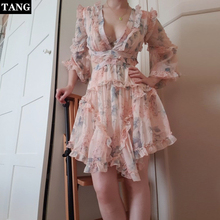 TANG Summer Sexy Deep V-Neck Mini Dress Elegant Floral Print Dress High Waist Women Plus Size Plaid Dress