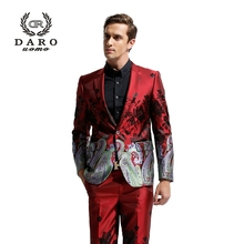 (Only Jackte) DAROuomo 2016 Men's Blazer Suit Slim Casual Jacket without Pants Chinese Style Suit DR8828