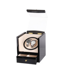 Watch Winder Wood Box 2 Slots Global Use with US AU UK EU Plug Battery Black