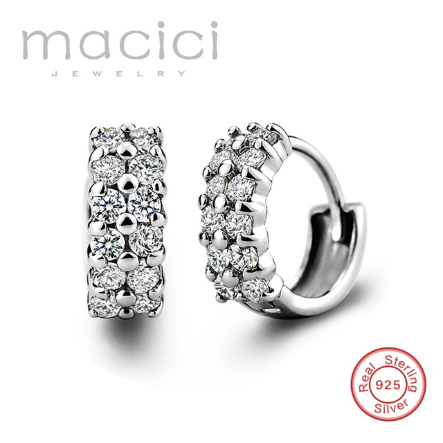 2017 Мода 925 Серебряные Ювелирные Изделия Изысканный Белый Позолоченные CZ Бриллиантовые Серьги Современные Красивые Серьги для Женщин DE54