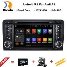 7″ Android 5.1 GPS Navigation 1024*600 Car Quad Core Double Din Radio Audio For Audi A3/S3 Radio System Auto DVD Player free map