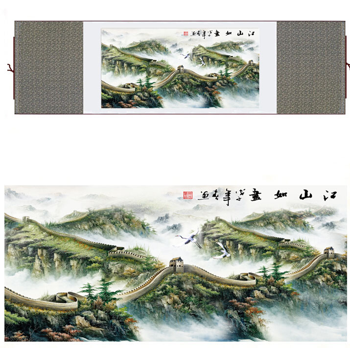 landscape art painting Mountain and River art painting mountains painting the Great wall paintingPrinted painting
