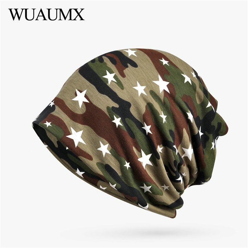 Wuaumx Casual Cotton   Skullies     Beanies   Hats For Men Women Ring Scarf Turban Hats Pentagram Camouflage Hedging Cap Hip Hop bonnet