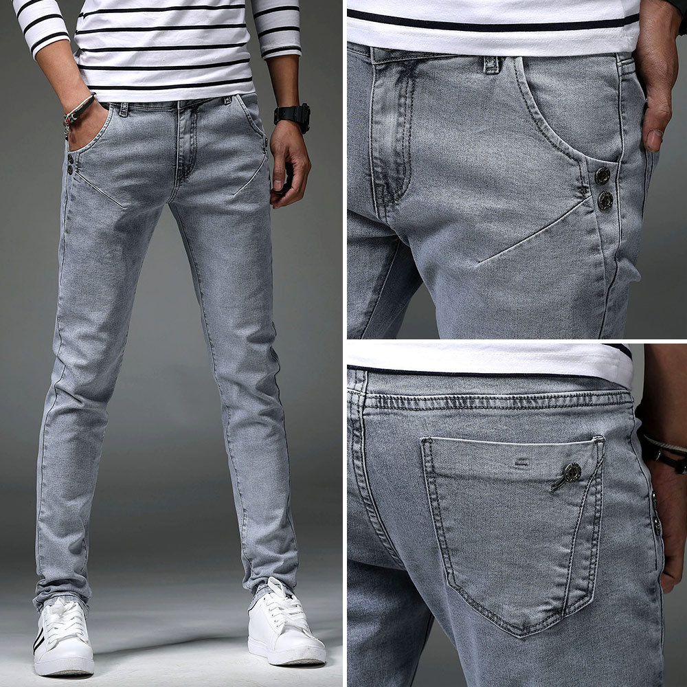 Spring Of 2019 D New Male Feet Jeans Teenagers Gray Pencil Pants Current Students Stretch Feet Pants