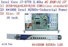 4G RAM 1G CF Inte I7 3770 3.4G 1U firewall server with 6 intel 1000M 825853v Gigabit LAN support ROS RouterOS Mikrotik Wayos etc