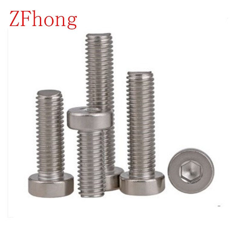 100PCS M3*4/5/6/8/10/12/14/16/20/25 DIN7984 m3 Stainless Steel hex socket thin short  cap head screw 50pcs iso7380 m3 5 6 8 10 12 14 16 18 20 25 3mm stainless steel hexagon socket button head screw