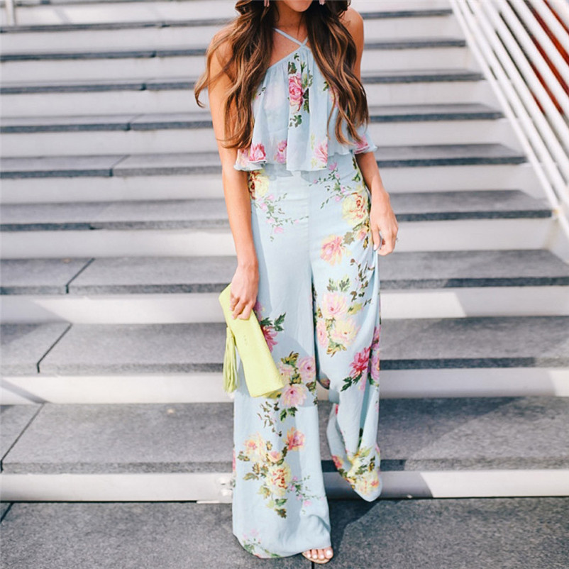 Fashion summer jumpsuit woman 2018 Strap Floral Sleeveless Backless Jumpsuit Long Wide Leg Trousers pantaloni siamesi J28#N (10)