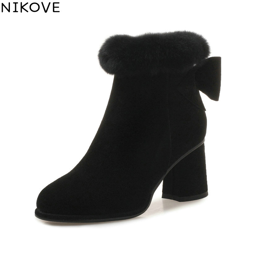 NIKOVE 2019 Women Shoes Zip Square High Heels Butterfly-knot Ankle Boots Shoes Autumn Round Toe Faux Fur Woman Boots Size 34-39