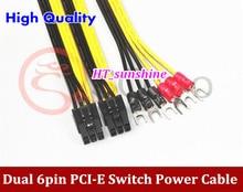 Лидер продаж двойной 6pin pci-e видео Графическая карта с выключателем питания 50 см + 20 см и типа терминала кабель