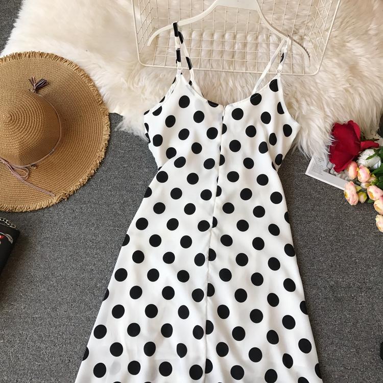 Women Beach Red Dress 2019 Summer New Seaside Holiday Sleeveless Dot Print Casual Vestidos E496 36