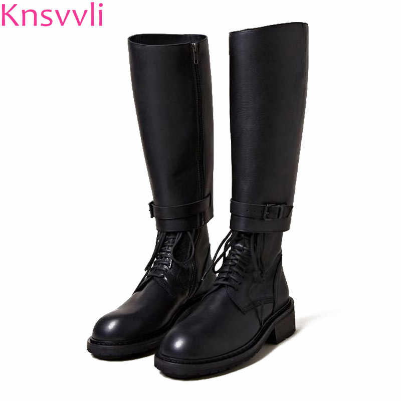 Martin boots cross tied genuine leather disassembling two wear knee high boots women black belt buckle women motorcycle boots