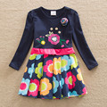 Varejo! vestido de manga Longa baby & kids primavera 2016 moda impressão de algodão em torno do pescoço de manga longa menina roupas bordadas LH5908