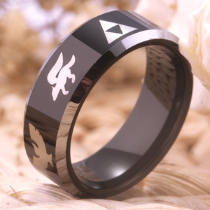Image 2 - YGK Hot Sales 8MM Tungsten Wedding Band Ring For Women and Men Super Smash Bros Zelda/Metroid/Pokemon/Mario bros/Star Fox Design
