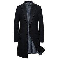 YF602 Size M 5XL Autumn and Winter Clothing Long Overcoat Large Woolen Cloth Men's Blends Coat