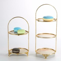 Plastic Disc Metal Frame Multi layer Cake Tray Wedding Party Dessert Plate Gold Stand Fruit Plate Tea Snack Tray