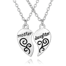 Mother Daughter Necklaces Pendants Statement Jewelry Heart Pendant Necklace Water Drop Shape Christmas Gift For Mom/Daughter