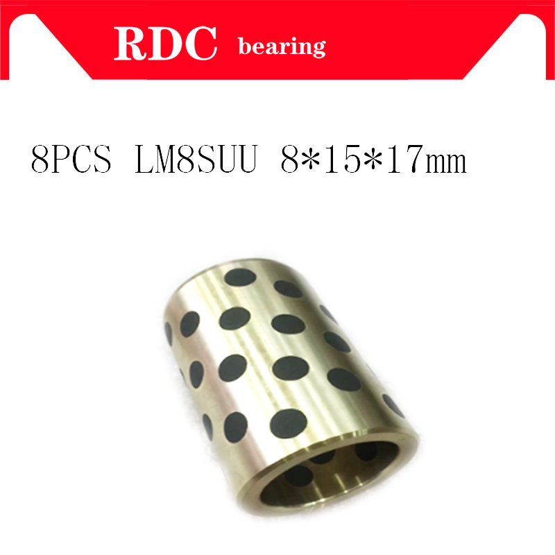 8PCS 8x15x17 Mm Linear Graphite Copper Set Bearing Copper Bushing Oil Self-lubricating Bearing JDB LM8SUU Flashforge 3D Printer
