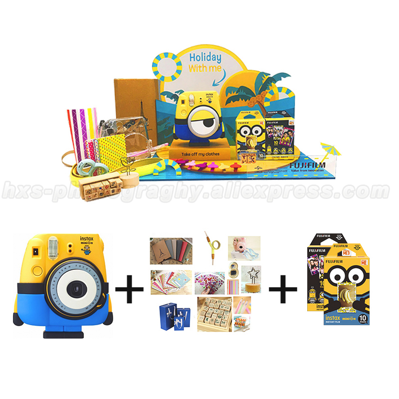 Minion Fuji Fujifilm Instax Mini Instant Film Camera, Limited Instax Mini 8 Fotos Camera Instantanea Special Gift Set