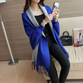 Pullover Regular Full Pull Women Poncho 2016 New Fashion Korea Loose Shawl Batwing Sleeves Lady Knit Sweater Coat Woolen Jacket