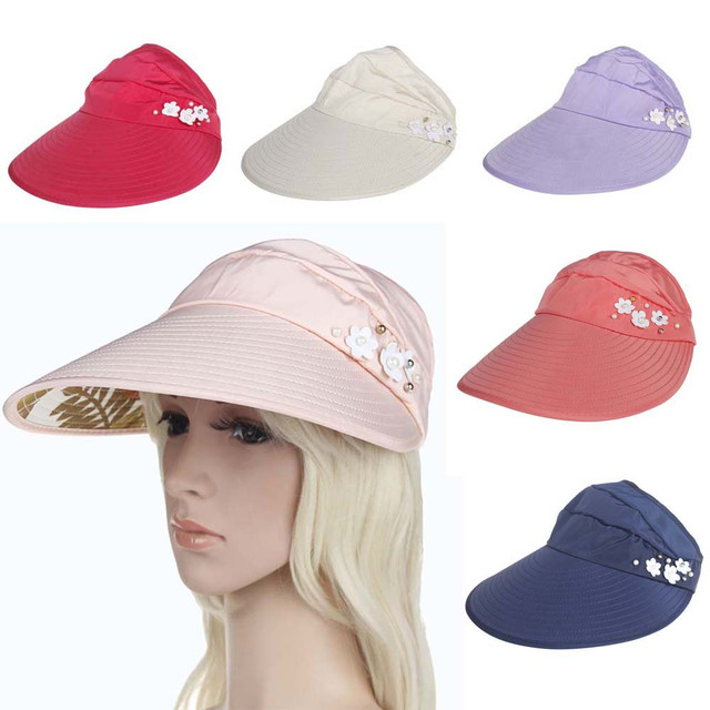 2018 Summer Women s Outdoor Beach Sunscreen Cap UV Protection Polyester Sun  Hat for Ladies in Six 21a065765c1